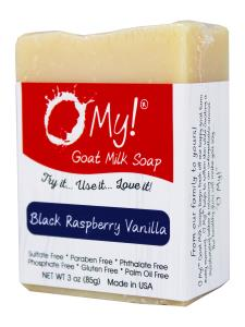 O My! Goat Milk Soap 3oz Bar - Black Raspberry Vanilla | Bundle of 3 | Made with Farm-Fresh Goat Milk | Moisturizes dry skin | Gently Exfoliates | Paraben Free | Leaping Bunny Certified | Made in USA