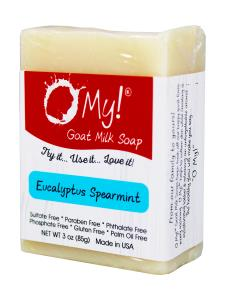 O My! Goat Milk Soap 3oz Bar - Eucalyptus Spearmint | Made with Farm-Fresh Goat Milk | Moisturizes dry skin | Gently Exfoliates | Paraben Free | Leaping Bunny Certified | Made in USA