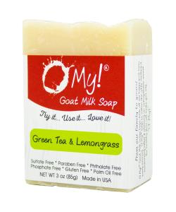 O My! Goat Milk Soap 3oz Bar - Green Tea & Lemongrass | Bundle of 3 | Made with Farm-Fresh Goat Milk | Moisturizes dry skin | Gently Exfoliates | Paraben Free | Leaping Bunny Certified | Made in USA