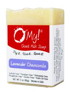 O My! Goat Milk Soap 3oz Bar - Lavender & Chamomile | Made with Farm-Fresh Goat Milk | Moisturizes dry skin | Gently Exfoliates | Paraben Free | Leaping Bunny Certified | Made in USA