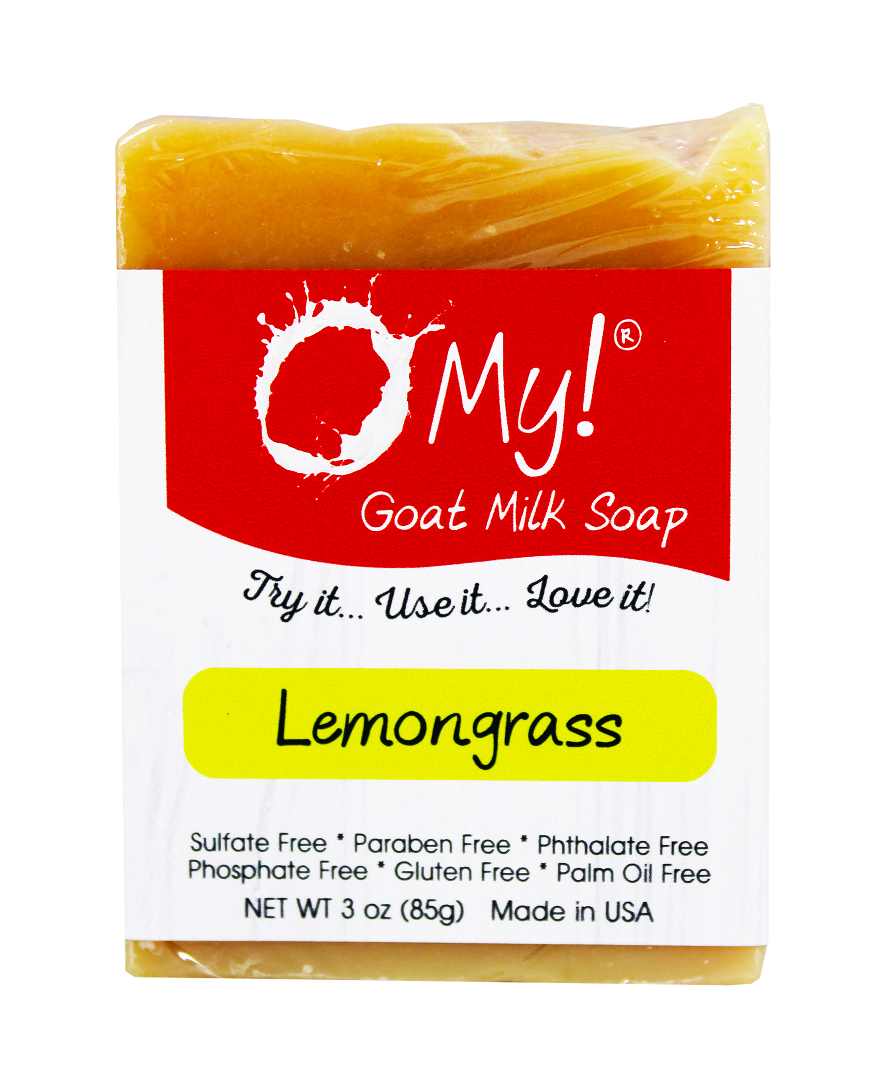 O My! Goat Milk Soap 3oz Bar - Lemongrass | Made with Farm-Fresh Goat Milk | Moisturizes dry skin | Gently Exfoliates | Paraben Free | Leaping Bunny Certified | Made in USA