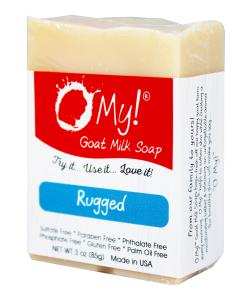 O My! Goat Milk Soap 3oz Bar - Rugged | Made with Farm-Fresh Goat Milk | Moisturizes dry skin | Gently Exfoliates | Paraben Free | Leaping Bunny Certified | Made in USA
