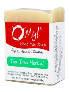 O My! Goat Milk Soap 3oz Bar - Tea Tree Herbal | Made with Farm-Fresh Goat Milk | Moisturizes dry skin | Gently Exfoliates | Paraben Free | Leaping Bunny Certified | Made in USA
