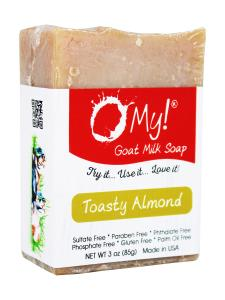 O My! Goat Milk Soap 3oz Bar - Toasty Almond | Bundle of 3 | Made with Farm-Fresh Goat Milk | Moisturizes dry skin | Gently Exfoliates | Paraben Free | Leaping Bunny Certified | Made in USA
