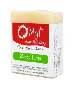 O My! Goat Milk Soap 3oz Bar - Zesty Lime | Bundle of 3 | Made with Farm-Fresh Goat Milk | Moisturizes dry skin | Gently Exfoliates | Paraben Free | Leaping Bunny Certified | Made in USA