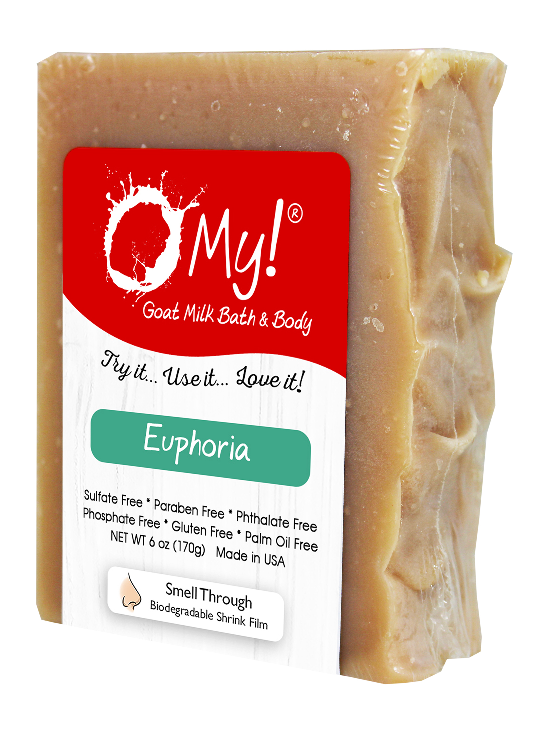 O My! Goat Milk Soap 6oz Bar - Euphoria | Made with Farm-Fresh Goat Milk | Moisturizes dry skin | Gently Exfoliates | Paraben Free | Leaping Bunny Certified | Made in USA