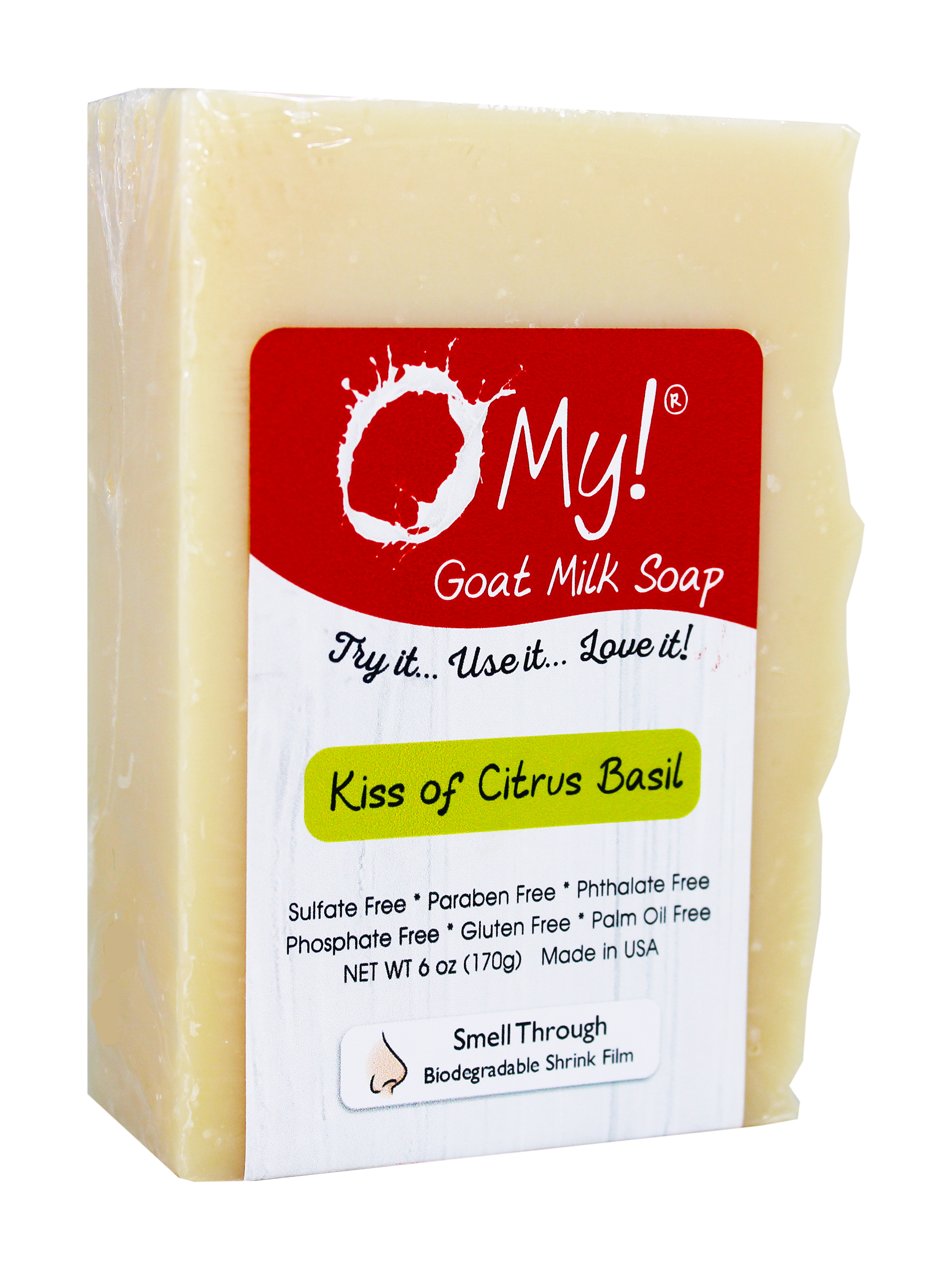 O My! Goat Milk Soap 6oz Bar - Kiss of Citrus Basil | Made with Farm-Fresh Goat Milk | Moisturizes dry skin | Gently Exfoliates | Paraben Free | Leaping Bunny Certified | Made in USA