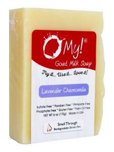 O My! Goat Milk Soap 6oz Bar - Lavender & Chamomile | Made with Farm-Fresh Goat Milk | Moisturizes dry skin | Gently Exfoliates | Paraben Free | Leaping Bunny Certified | Made in USA