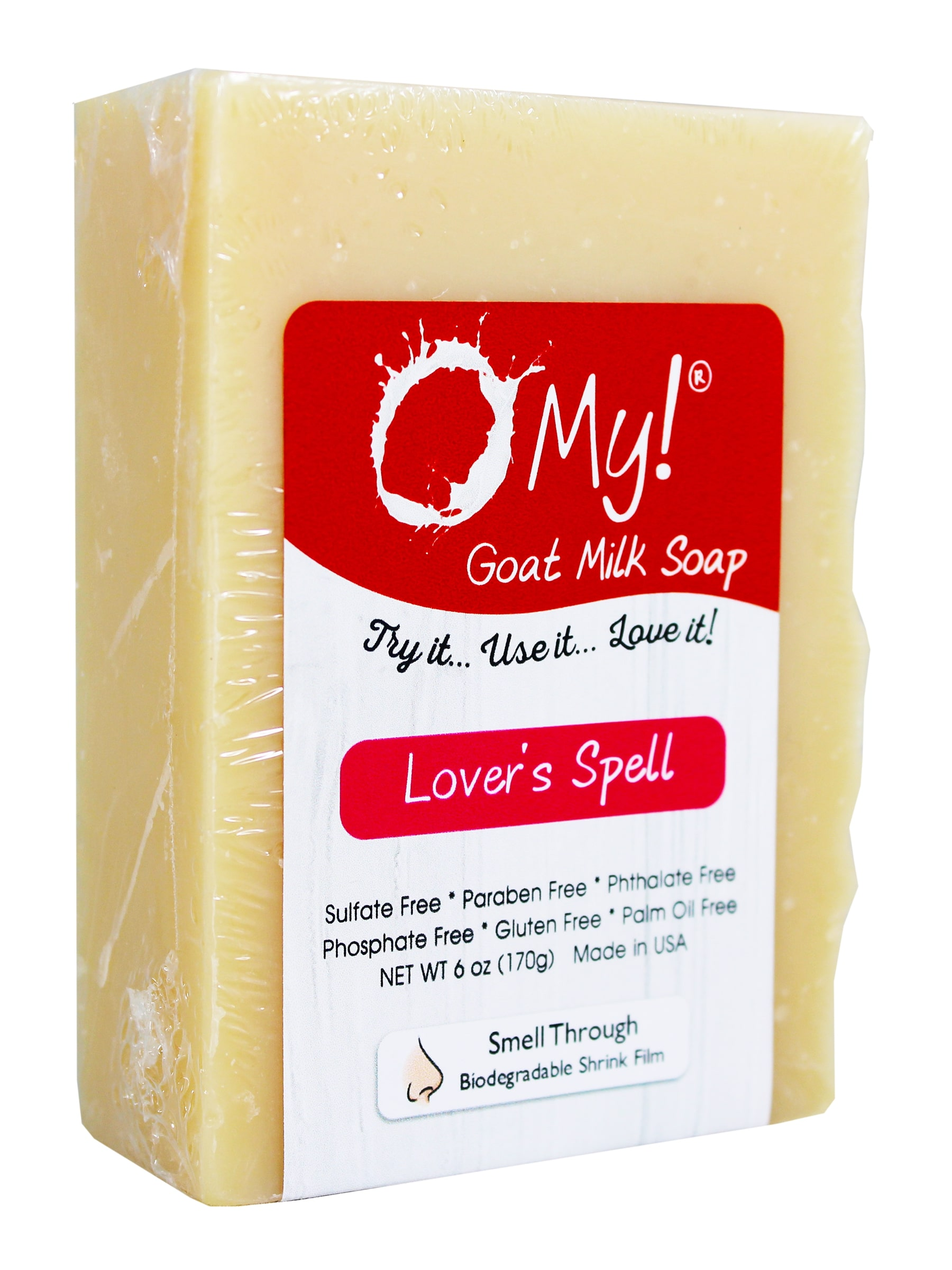 O My! Goat Milk Soap 6oz Bar - Lovers Spell | Made with Farm-Fresh Goat Milk | Moisturizes dry skin | Gently Exfoliates | Paraben Free | Leaping Bunny Certified | Made in USA