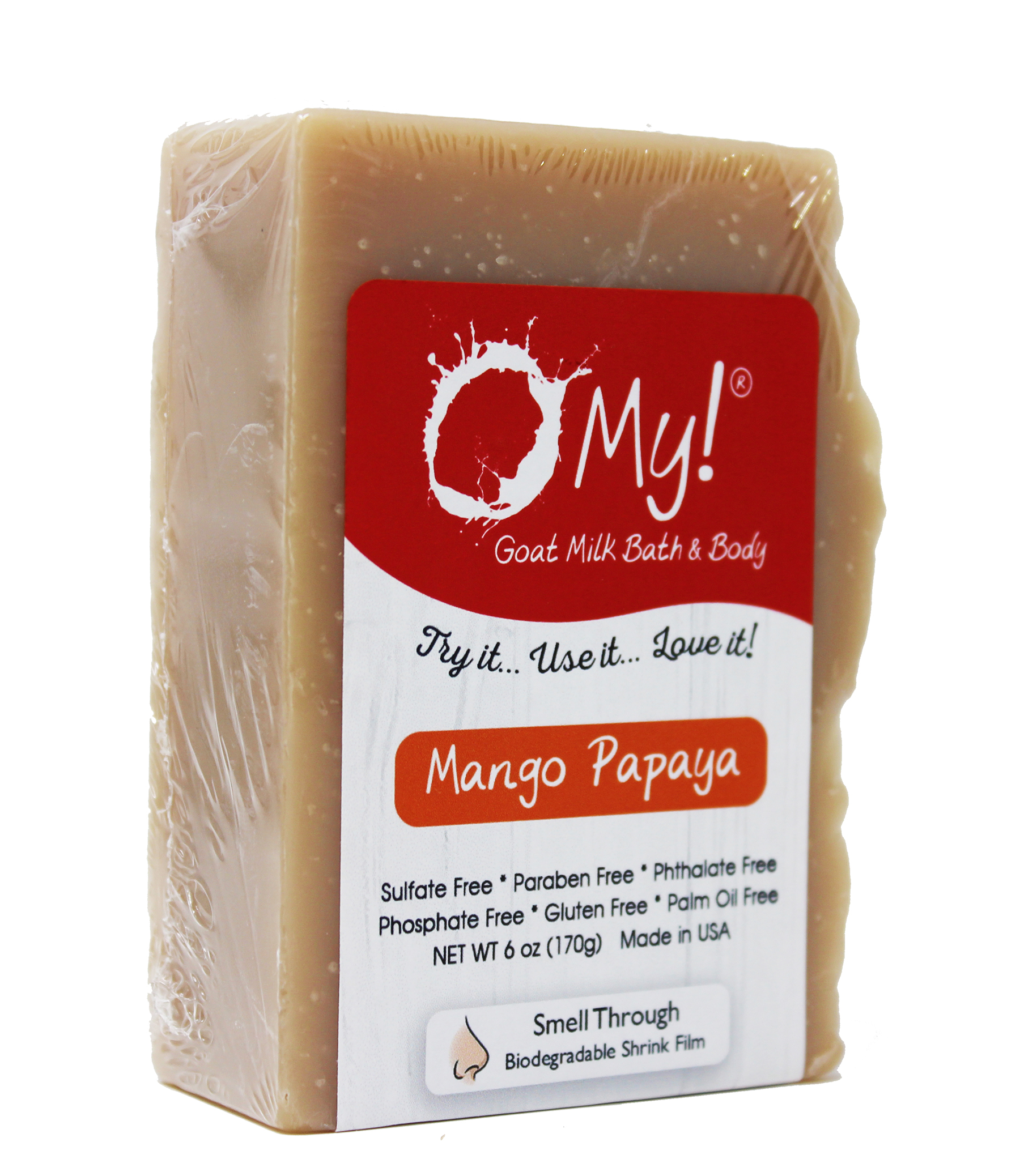 O My! Goat Milk Soap 6oz Bar - Mango Papaya | Made with Farm-Fresh Goat Milk | Moisturizes dry skin | Gently Exfoliates | Paraben Free | Leaping Bunny Certified | Made in USA