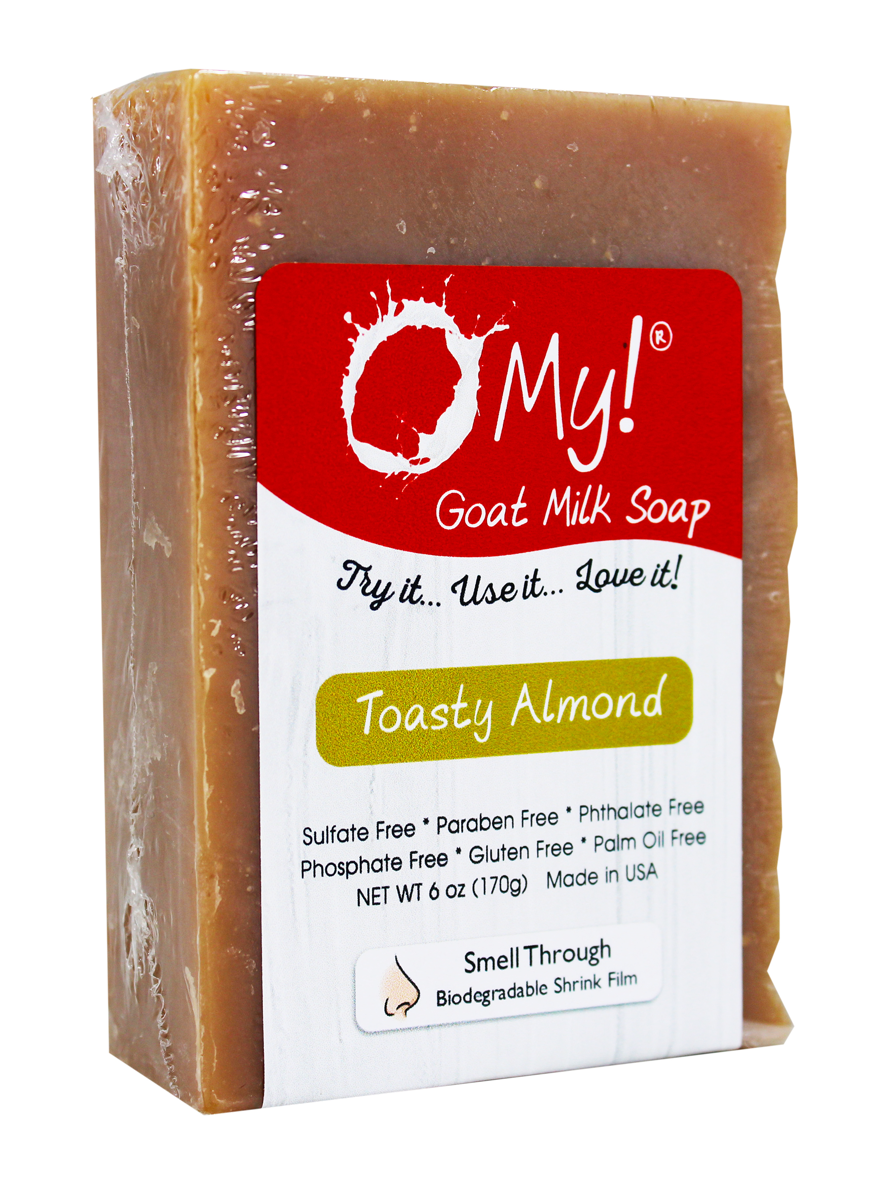 O My! Goat Milk Soap 6oz Bar - Toasty Almond | Made with Farm-Fresh Goat Milk | Moisturizes dry skin | Gently Exfoliates | Paraben Free | Leaping Bunny Certified | Made in USA