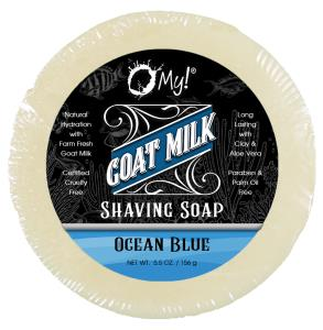 O My! Goat Milk Shaving Soap 5.5z - Ocean Blue | Get your Healthy Goat Milk Wet-Shave On with O My! | Paraben Free | Shea Butter, Vit E | Leaping Bunny Certified | Handmade in USA