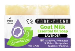 O My! Goat Milk Essential Oil Soap Traveler 4 Pack - Lavender | Bundle of 3 | Made with Farm-Fresh Goat Milk | Moisturizes dry skin | Leaping Bunny Certified | Handmade in USA