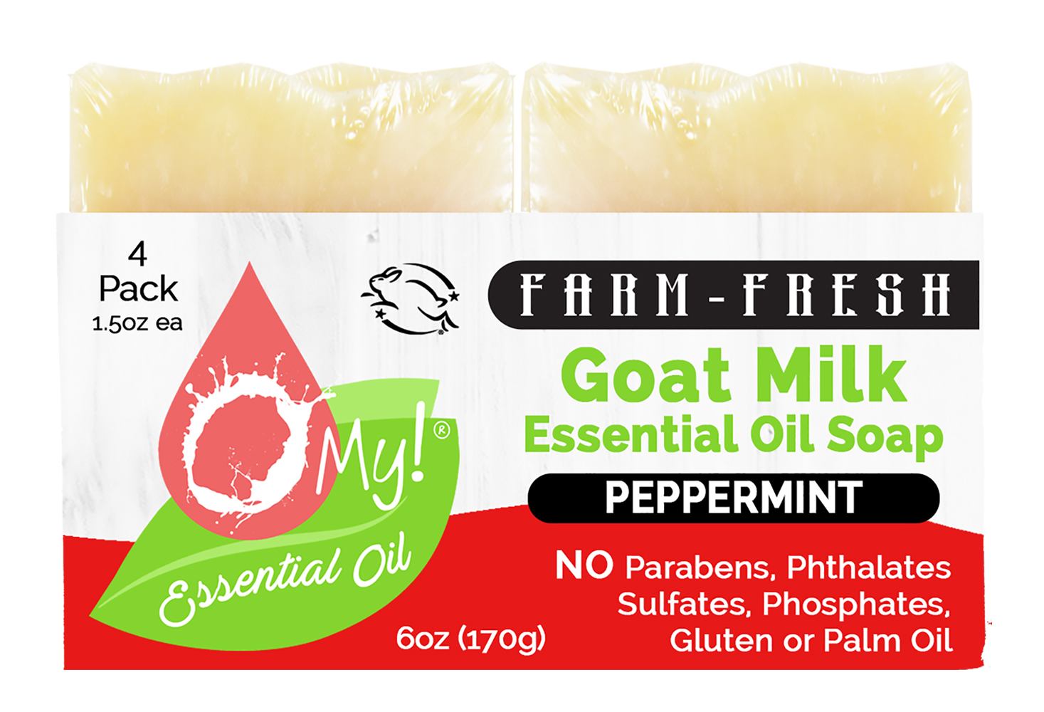 O My! Goat Milk Essential Oil Soap Traveler 4 Pack - Peppermint | Made with Farm-Fresh Goat Milk | Moisturizes dry skin | Leaping Bunny Certified | Handmade in USA