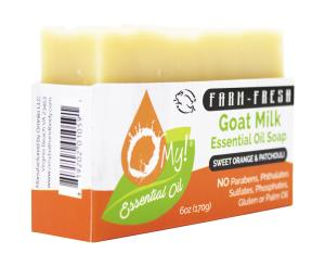 O My! Goat Milk Essential Oil Soap 6oz Bar - Sweet Orange & Patchouli | Made with Farm-Fresh Goat Milk | Moisturizes dry skin | Paraben Free | Leaping Bunny Certified | Handmade in USA