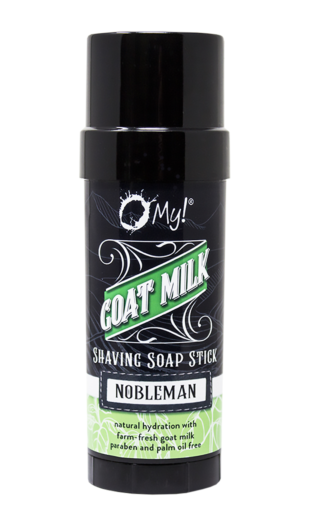 O My! Goat Milk Shaving Soap Stick 2.25oz - Nobleman | Goat Milk Wet-shave on the Road | No Bowl or Mug Needed | Shea Butter, Vitamin E | Leaping Bunny Certified | Handmade in USA