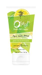 O My! Goat Milk Lotion 2oz - Green Tea & Lemongrass | Made with Farm-Fresh Goat Milk | Paraben Free | Hydrating with Shea Butter & Vitamin E | Leaping Bunny Certified | Handmade in USA