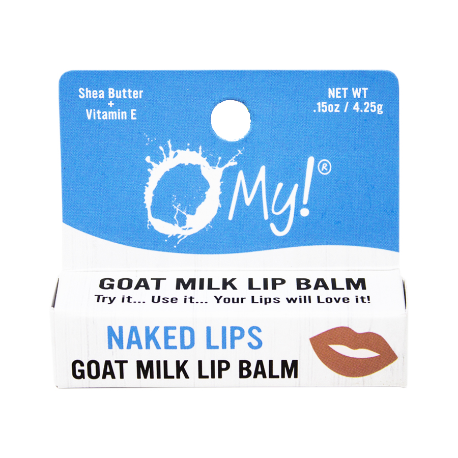 O My! Goat Milk Lip Balm Single Pack .15oz - Naked Lips | Bundle of 6 | Natural Goat Milk Lip Balm | Dabs of Shea Butter and Drops of Vitamin E | Leaping Bunny Certified | Handmade in USA