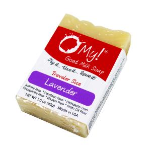 O My! Goat Milk Soap Traveler 1.5oz Bar - Lavender | Bundle of 3 | Made with Farm-Fresh Goat Milk | Moisturizes dry skin | Paraben Free | Leaping Bunny Certified | Handmade in USA