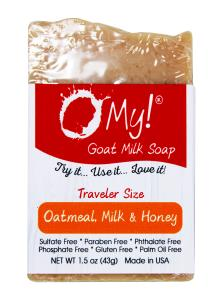 O My! Goat Milk Soap Traveler 1.5oz Bar - Oatmeal Milk & Honey | Bundle of 3 | Made with Farm-Fresh Goat Milk | Moisturizes dry skin | Paraben Free | Leaping Bunny Certified | Handmade in USA