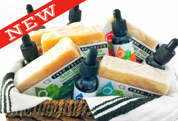 New O My! Essential Oil Droppers and coordinating farm-fresh Goat Milk Soaps