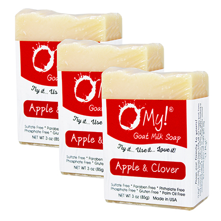 OMy! Goat Milk Soap 3oz Bar - Bundle of 3 - Apple & Clover