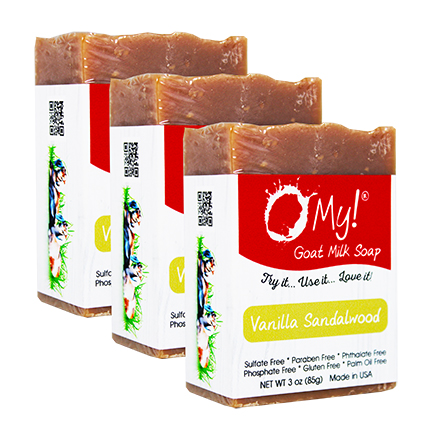 OMy! Goat Milk Soap 3oz Bar - Bundle of 3 - Vanilla Sandalwood