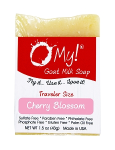 O My! Goat Milk Soap Traveler 1.5oz Bar - Cherry Blossom | Bundle of 3 | Made with Farm-Fresh Goat Milk | Moisturizes dry skin | Paraben Free | Leaping Bunny Certified | Handmade in USA