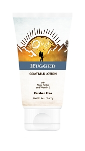O My! Goat Milk Lotion 2oz - Rugged | Made with Farm-Fresh Goat Milk | Paraben Free | Hydrating with Shea Butter & Vitamin E | Leaping Bunny Certified | Handmade in USA