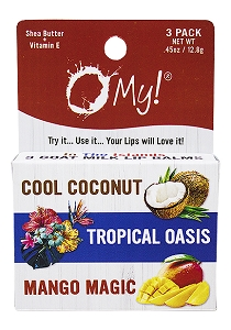 O My! Goat Milk Lip Balm 3-Pack Box .45oz - In the Islands | Bundle of 6 | Natural Goat Milk Lip Balm 3-Pack | Dabs of Shea Butter and Drops of Vitamin E | Leaping Bunny Certified | Handmade in USA