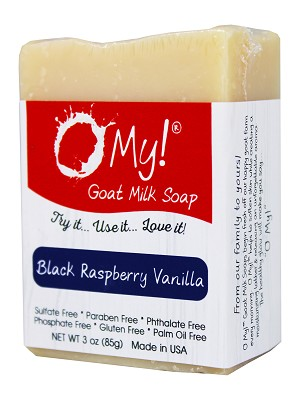 O My! Goat Milk Soap 3oz Bar - Black Raspberry Vanilla | Made with Farm-Fresh Goat Milk | Moisturizes dry skin | Gently Exfoliates | Paraben Free | Leaping Bunny Certified | Made in USA