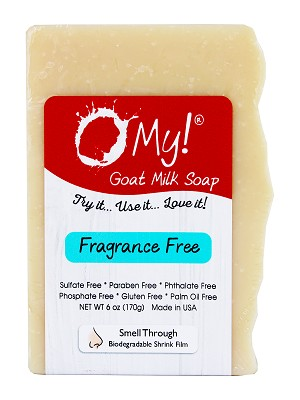 O My! Goat Milk Soap 6oz Bar - Fragrance Free | Made with Farm-Fresh Goat Milk | Moisturizes dry skin | Gently Exfoliates | Paraben Free | Leaping Bunny Certified | Made in USA