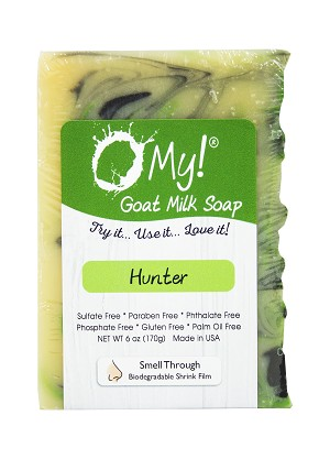 O My! Goat Milk Soap 6oz Bar - Hunter | Bundle of 3 | Made with Farm-Fresh Goat Milk | Moisturizes dry skin | Gently Exfoliates | Paraben Free | Leaping Bunny Certified | Made in USA