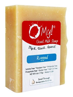 O My! Goat Milk Soap 6oz Bar - Rugged | Made with Farm-Fresh Goat Milk | Moisturizes dry skin | Gently Exfoliates | Paraben Free | Leaping Bunny Certified | Made in USA
