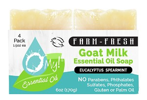 O My! Goat Milk Essential Oil Soap Traveler 4 Pack - Eucalyptus Spearmint | Bundle of 3 | Made with Farm-Fresh Goat Milk | Moisturizes dry skin | Leaping Bunny Certified | Handmade in USA