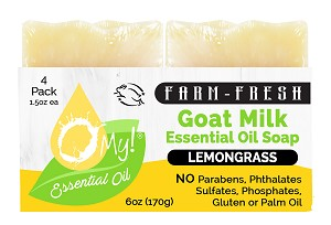 O My! Goat Milk Essential Oil Soap Traveler 4 Pack - Lemongrass | Made with Farm-Fresh Goat Milk | Moisturizes dry skin | Leaping Bunny Certified | Handmade in USA