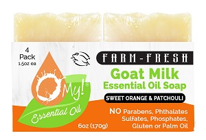 O My! Goat Milk Essential Oil Soap Traveler 4 Pack - Sweet Orange & Patchouli | Bundle of 3 | Made with Farm-Fresh Goat Milk | Moisturizes dry skin | Leaping Bunny Certified | Handmade in USA