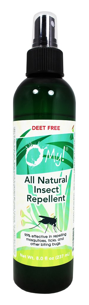 O My! All Natural Insect Repellent 8oz | Make the Bugs Flee, The Natural Deet-Free Way, Made with Five 100% Pure Essential Oils | Family Size | Leaping Bunny Certified | Bottled in USA
