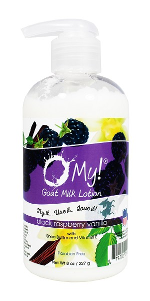 O My! Goat Milk Lotion 8oz - Black Raspberry Vanilla | Bundle of 3 | Made with Farm-Fresh Goat Milk | Paraben Free | Hydrating with Shea Butter & Vitamin E | Leaping Bunny Certified | Handmade in USA