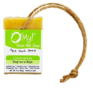 O My! Goat Milk Soap On A Rope 3oz - Lemongrass | Bundle of 3 | Made with Farm-Fresh Goat Milk | Hangs to Dry | Gently Exfoliates | Paraben Free | Leaping Bunny Certified | Made in USA