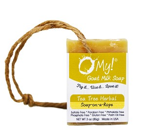 O My! Goat Milk Soap On A Rope 3oz - Tea Tree Herbal | Made with Farm-Fresh Goat Milk | Hangs to Dry | Gently Exfoliates | Paraben Free | Leaping Bunny Certified | Made in USA