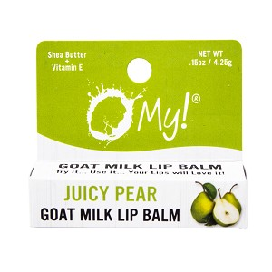 O My! Goat Milk Lip Balm Single Pack .15oz - Juicy Pear | Natural Goat Milk Lip Balm | Dabs of Shea Butter and Drops of Vitamin E | Leaping Bunny Certified | Handmade in USA