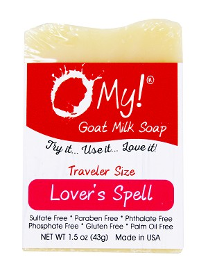 O My! Goat Milk Soap Traveler 1.5oz Bar - Lovers Spell | Bundle of 3 | Made with Farm-Fresh Goat Milk | Moisturizes dry skin | Paraben Free | Leaping Bunny Certified | Handmade in USA