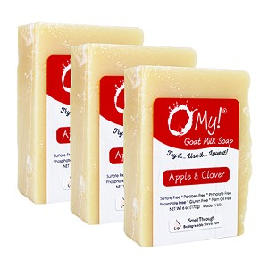 O My! Goat Milk Soap 6oz Bar - Apple & Clover | Bundle of 3 | Made with Farm-Fresh Goat Milk | Moisturizes dry skin | Gently Exfoliates | Paraben Free | Leaping Bunny Certified | Made in USA