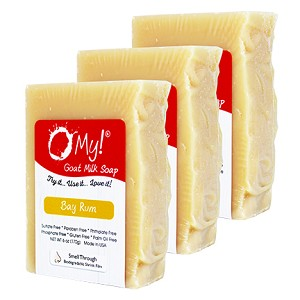 O My! Goat Milk Soap 6oz Bar - Bay Rum | Bundle of 3 | Made with Farm-Fresh Goat Milk | Moisturizes dry skin | Gently Exfoliates | Paraben Free | Leaping Bunny Certified | Made in USA