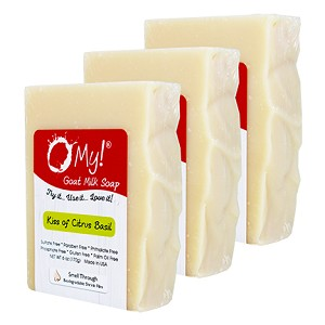 O My! Goat Milk Soap 6oz Bar - Kiss of Citrus Basil | Bundle of 3 | Made with Farm-Fresh Goat Milk | Moisturizes dry skin | Gently Exfoliates | Paraben Free | Leaping Bunny Certified | Made in USA