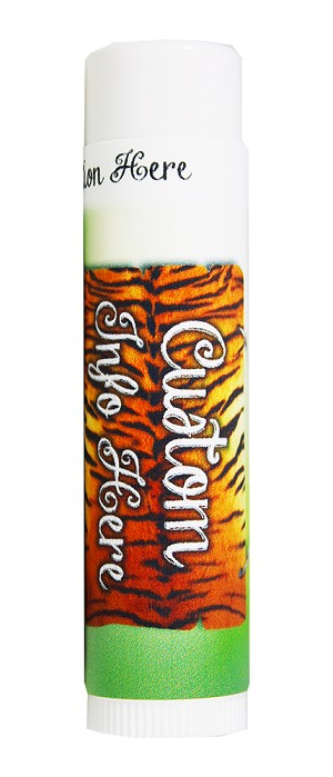O My! Name Drop Goat Milk Lip Balm Zoo Animals - Tiger License Plate |Carton of 50 | Show Off your Brand in a Healthy Way | Drop Your Logo into a Design and Start Selling | Perfect Biz Card