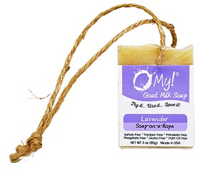 O My! Goat Milk Soap On A Rope 3oz - Lavender | Made with Farm-Fresh Goat Milk | Hangs to Dry | Gently Exfoliates | Paraben Free | Leaping Bunny Certified | Made in USA